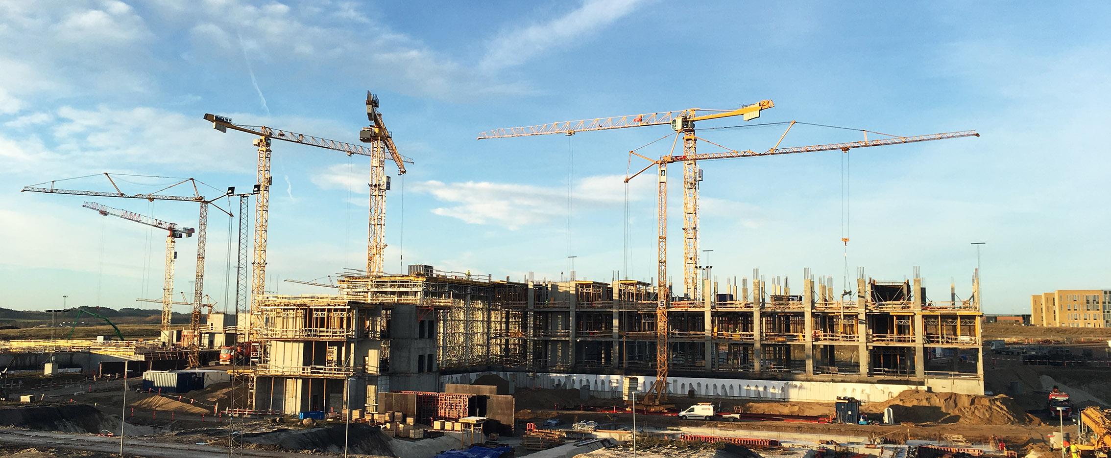 Cranes on a contruction site.