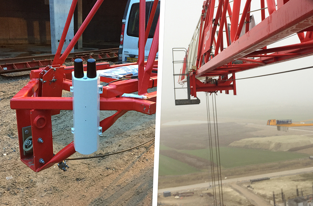 Images of a crane camera installed on a crane jib.