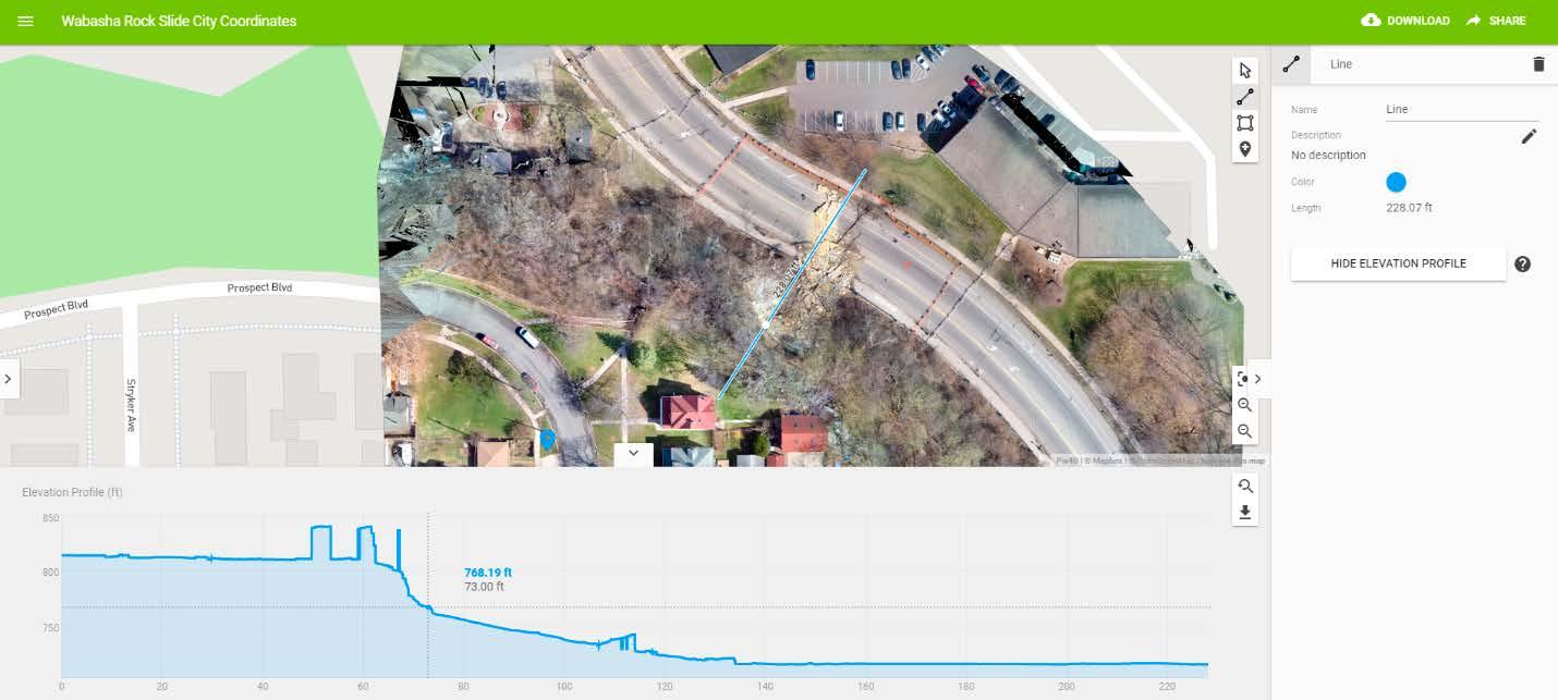 Elevation of the Wabasha Street rockslide in Pix4Dmapper Cloud