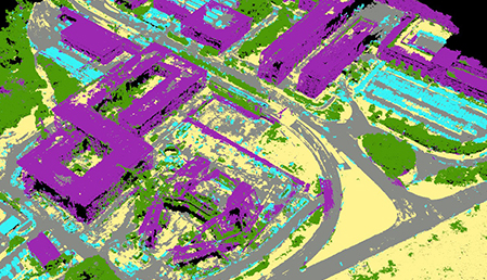 A construction survey with buildings highlighted in purple