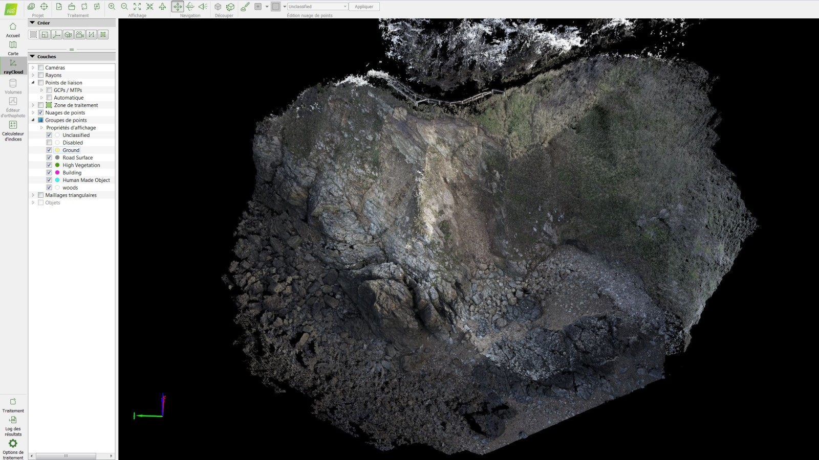 3D model of a coastline generated with Pix4Dmapper