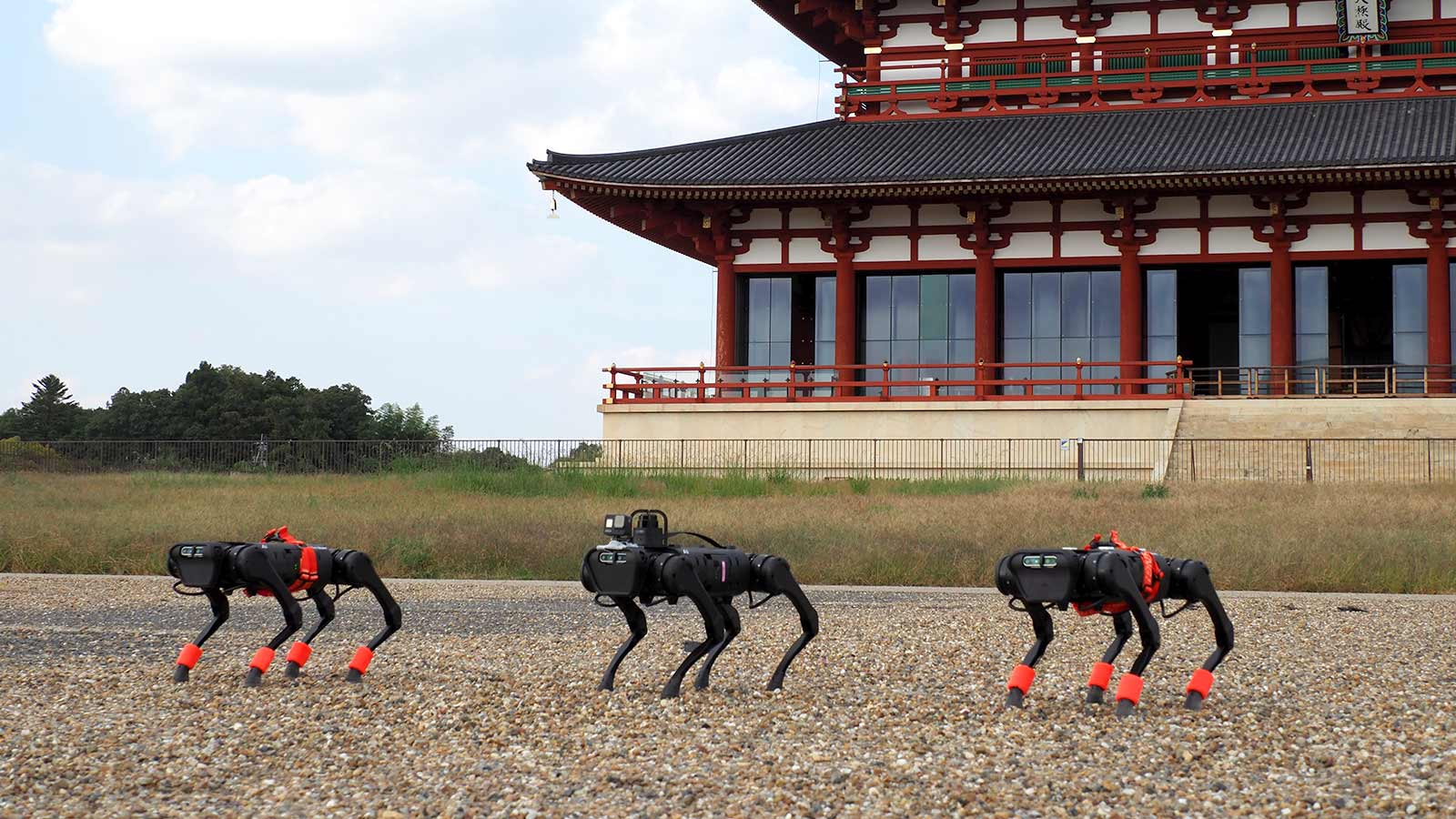 Several quadruped robots in front of a palace