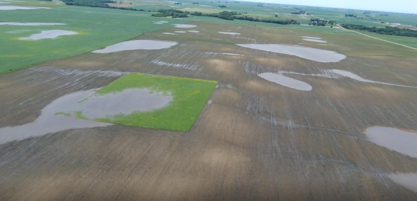 Drone flight over flooded fields in Iowa