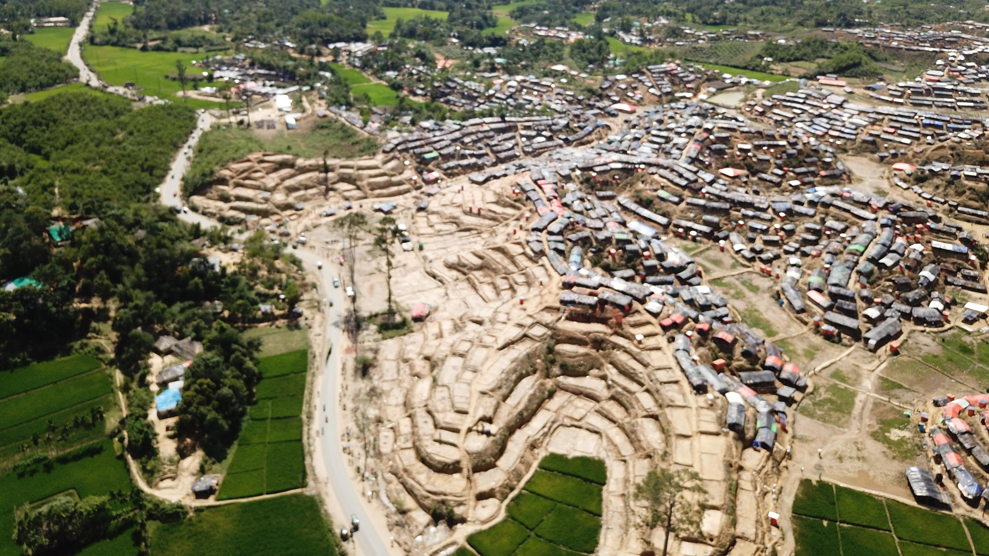 Earthworks in a refugee camp
