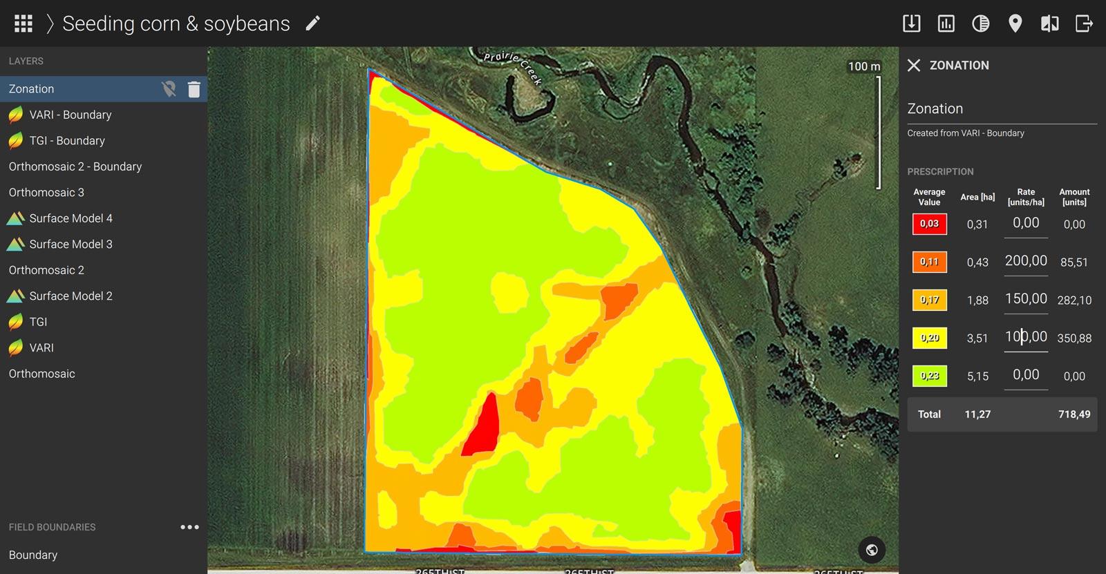 John Deere Pix4Dfields zonation map