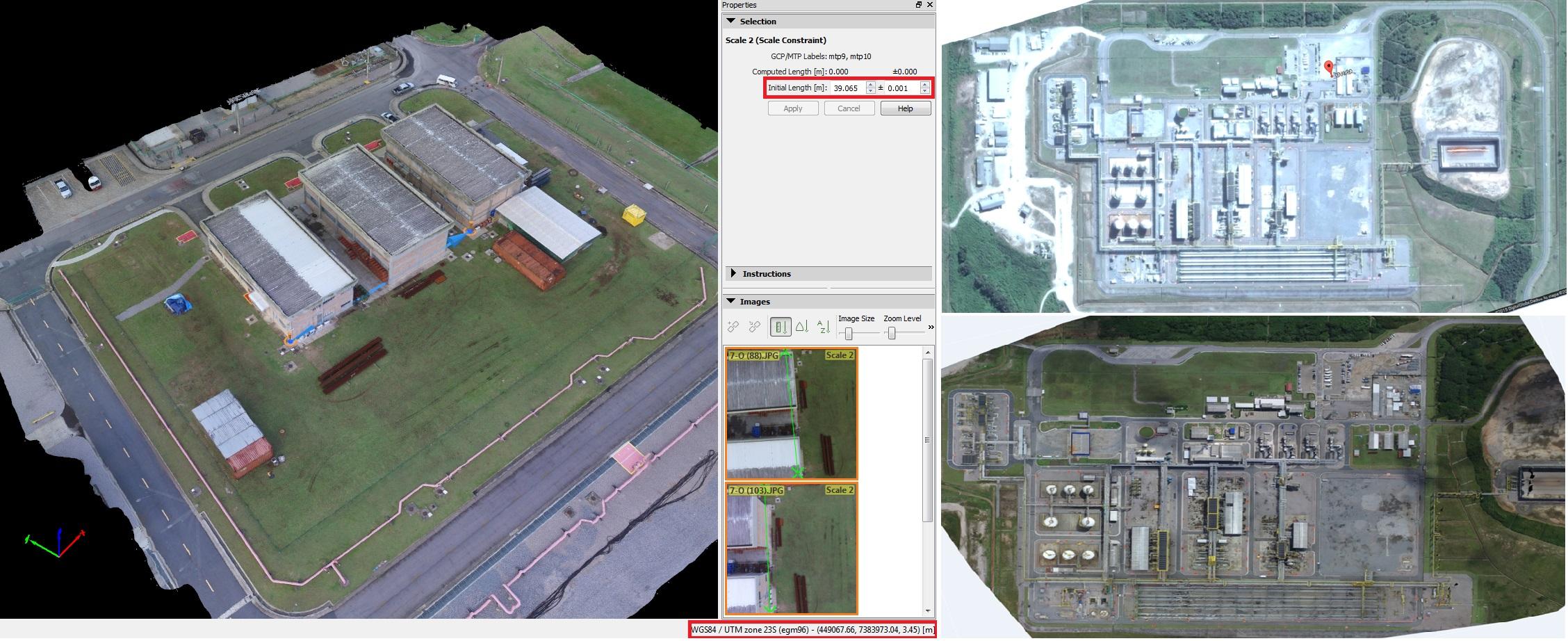 Three screenshots of the project in Pix4Dmapper