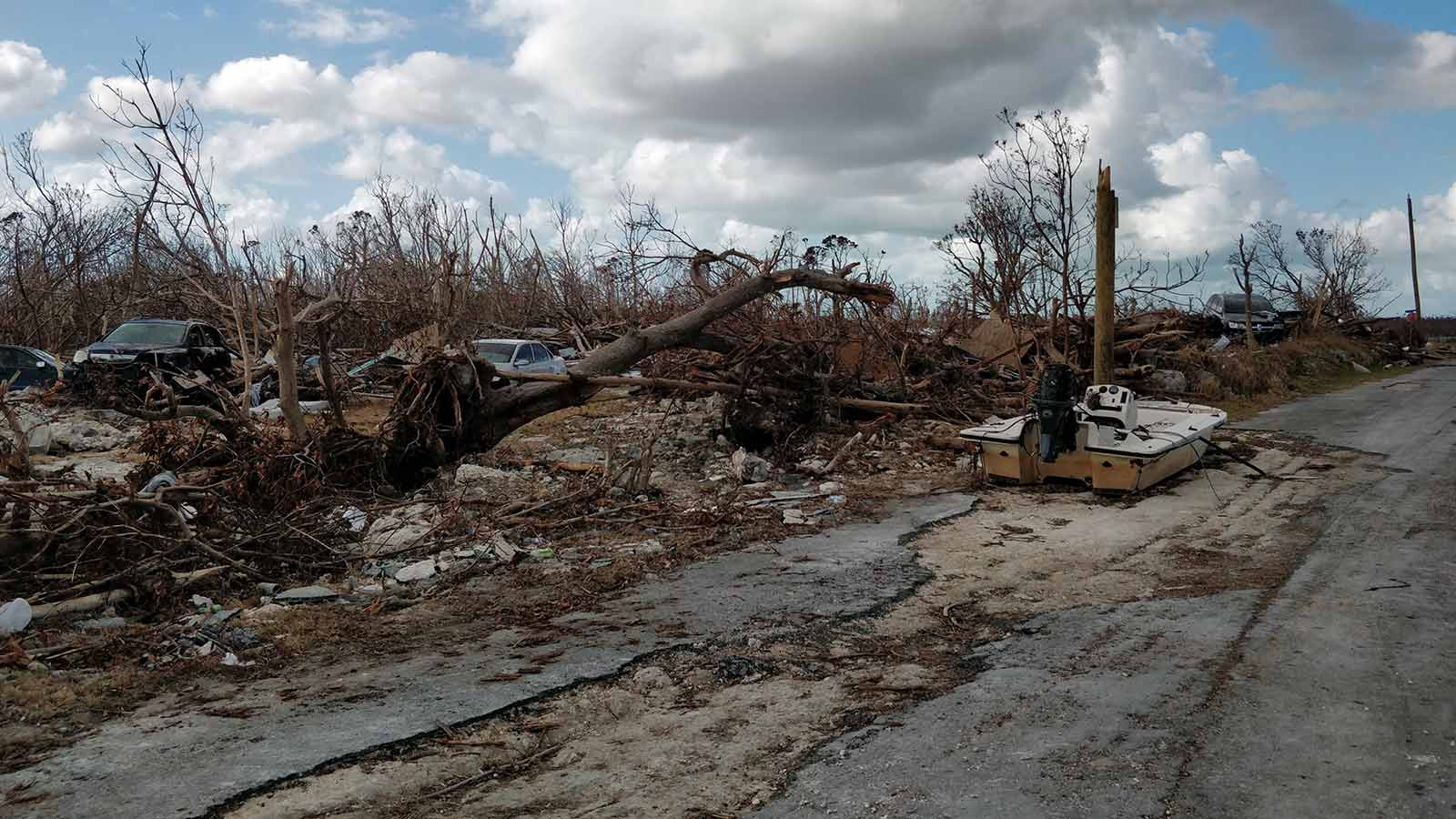 Damage-to-cars,-boats-and-the-road-after-Hurricane-Dorian