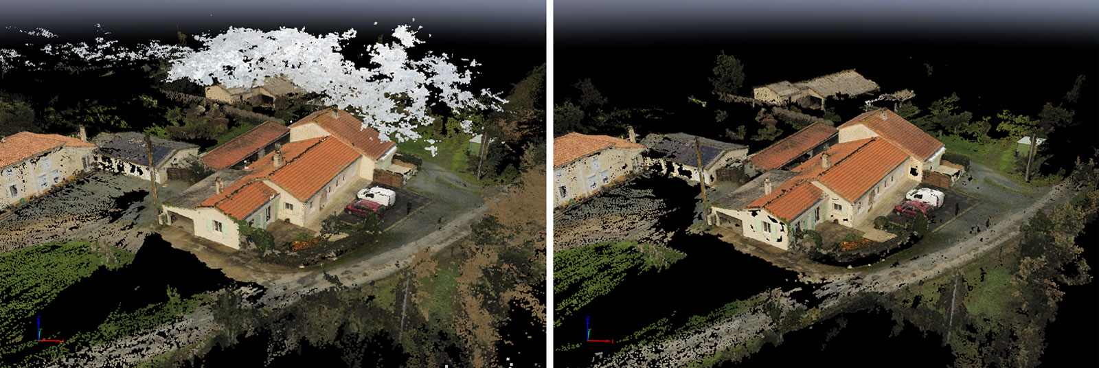 Fewer outliers in the point cloud due to sky with Pix4Dmapper 4.5