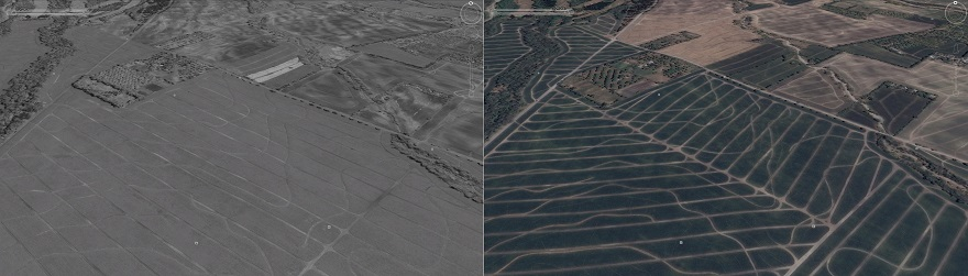 Satellite imagery on Google Earth shows the change of planting layout