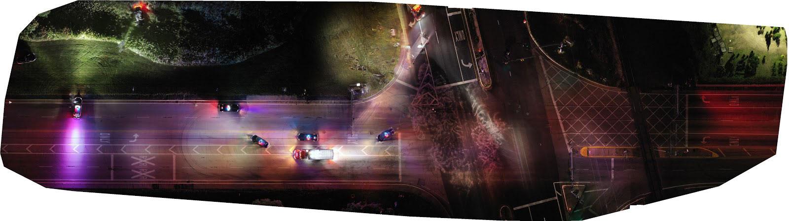 orthomosaic output of a traffic crash scene created in Pix4Dmapper