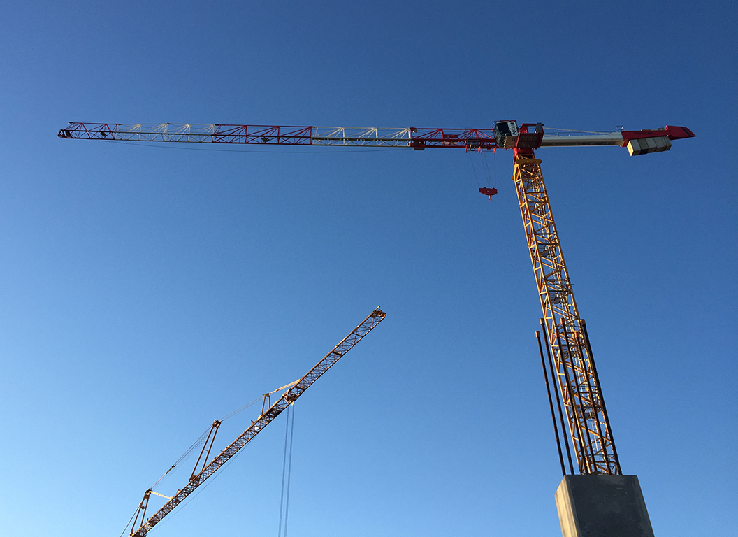 Tower crane in a construction site.