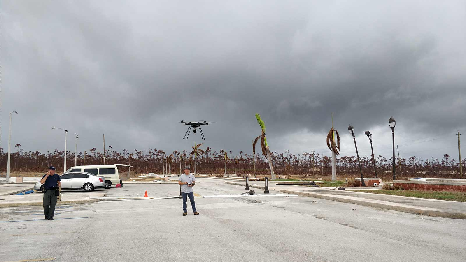 Flying-a-drone-to-review-damage-after-a-hurricane