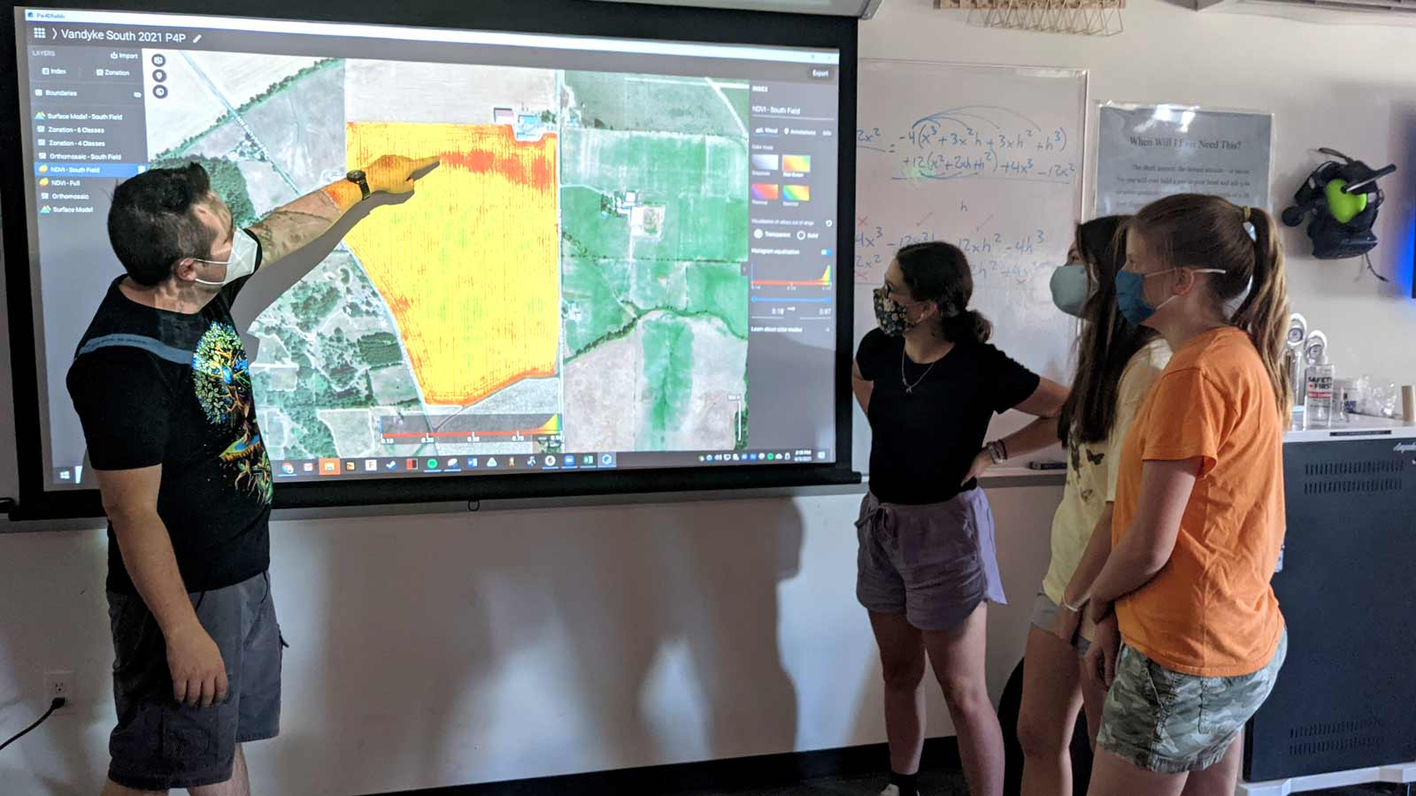 Yamhill Carlton students looking at the agriculture patterns on the NDVI map in PIX4Dfields
