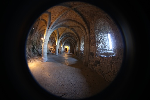The cellars of castle Chillon, which once served as a dungeon, shot with a fisheye lens.