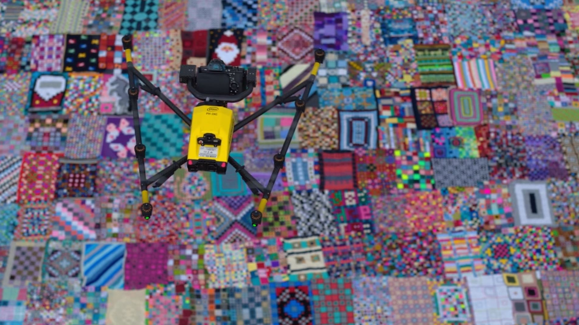 Crochet blanket with drone