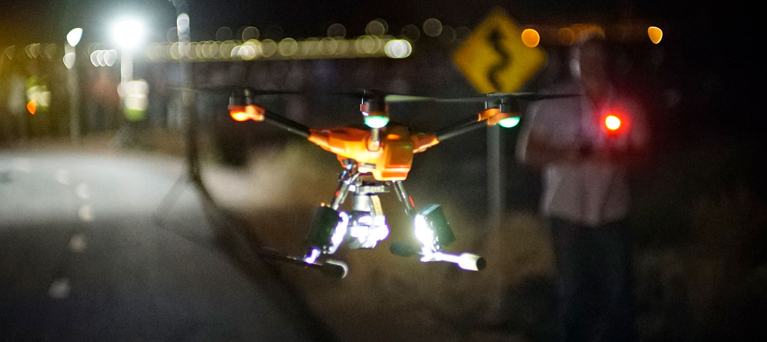 Public safety drone demonstration in crime scene at night