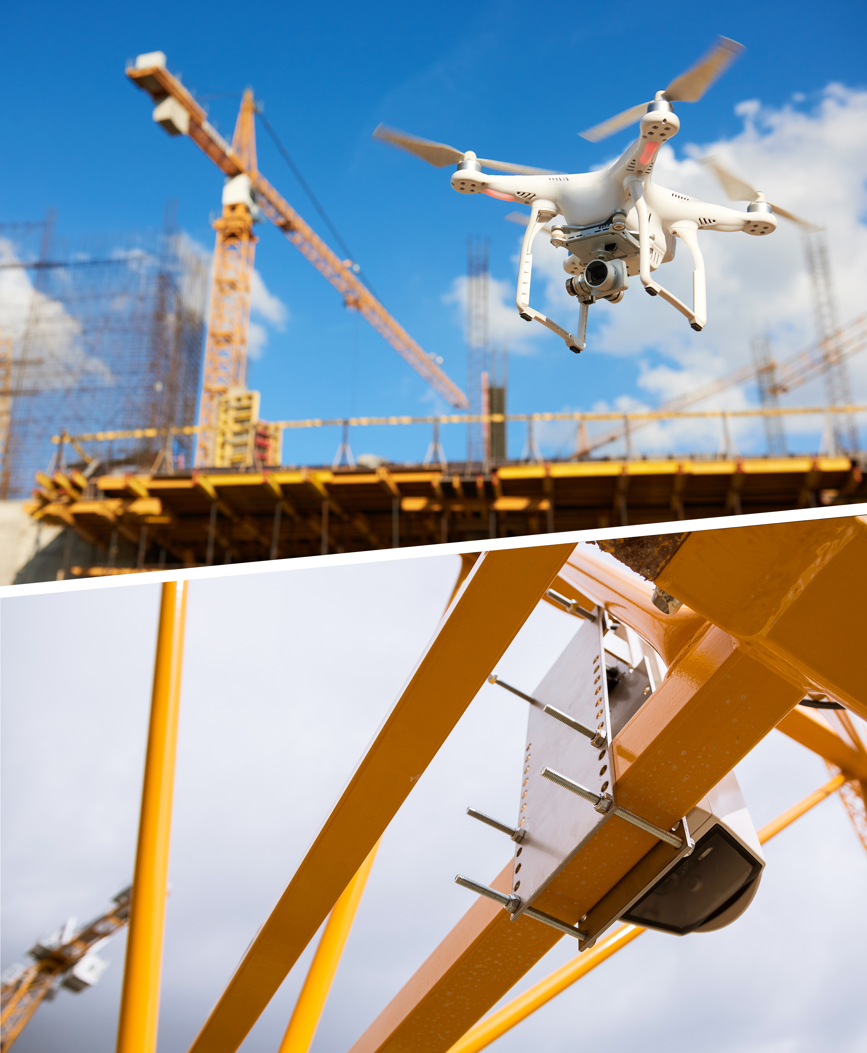 drone flying over a construction site and a crane camera installed at a crane