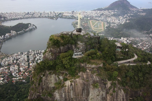 Image of Christ the Redeemer overlooking Rio. Image taken from a helicopter