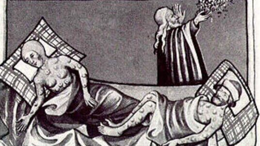 Woodcut depicting two plague victims in bed, tended to by a priest.
