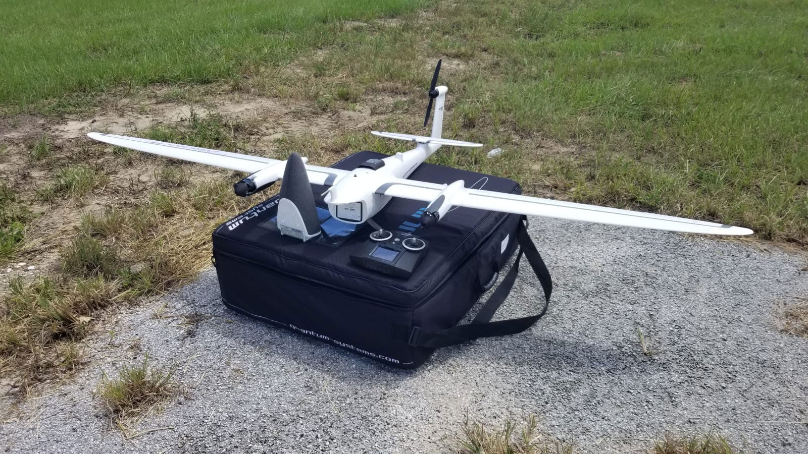 A Quantum-Systems drone ready for take off
