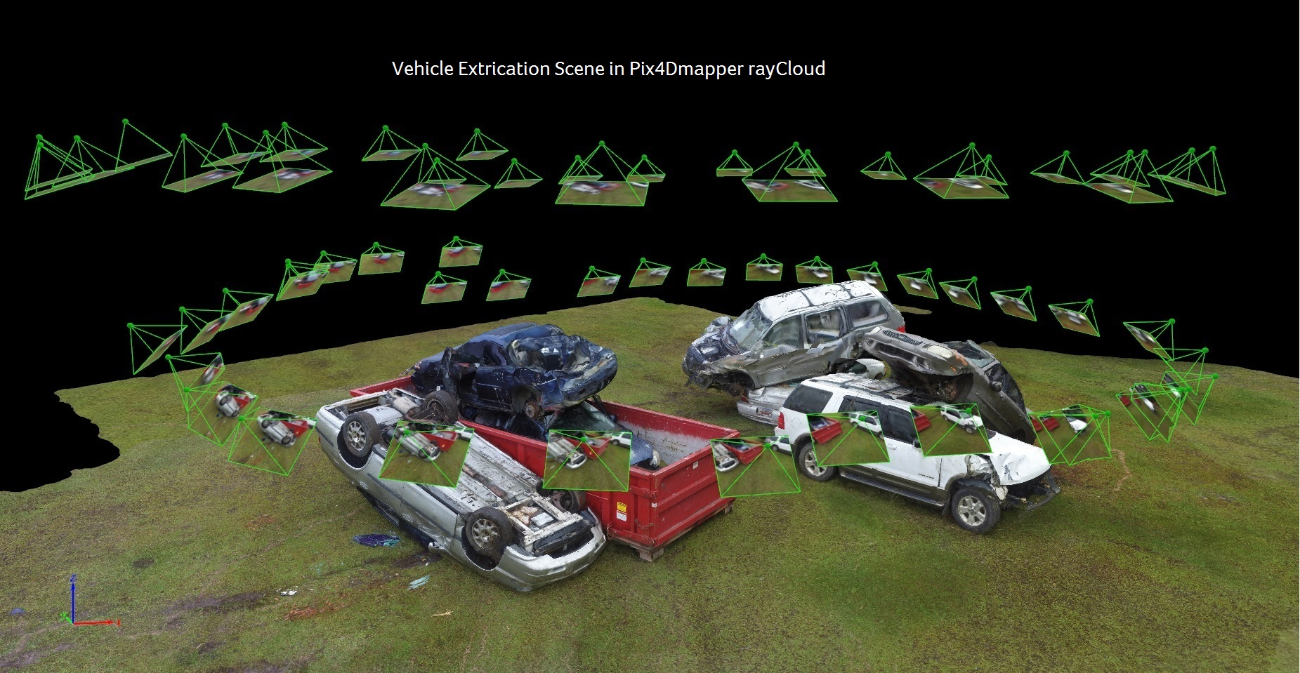 Vehicle Extrication Scene in Pix4Dmapper Cloud.