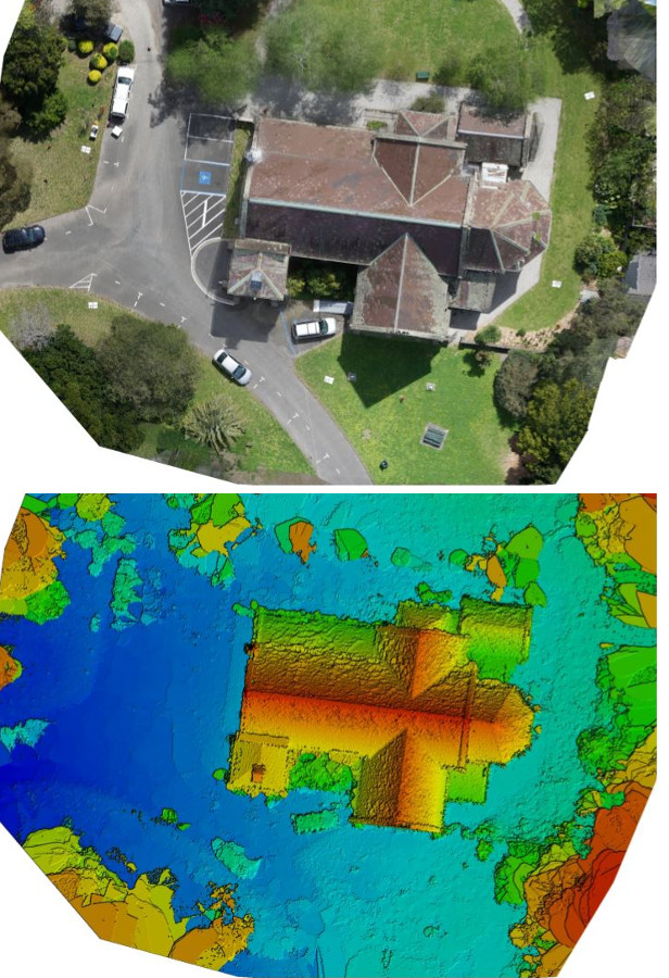 A drone image of a house, contrasted with an image of the same house processed with Pix4Dmapper.