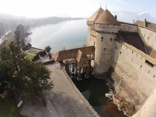 View of castle Chillon from the air.