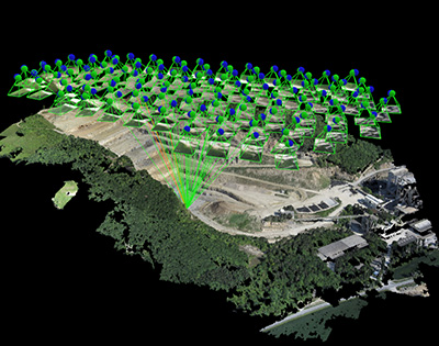A quarry shown in with the Pix4D rayCloud.