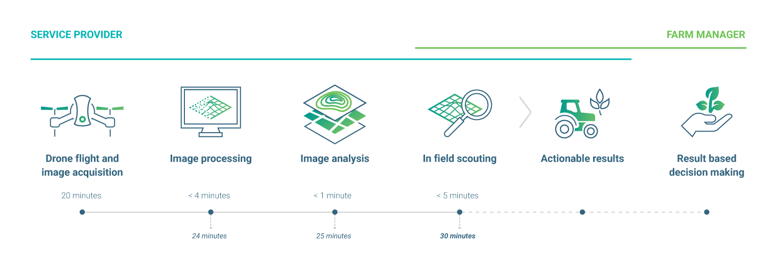 A workflow demonstrating how quickly Pix4Dfields can turn images into action.