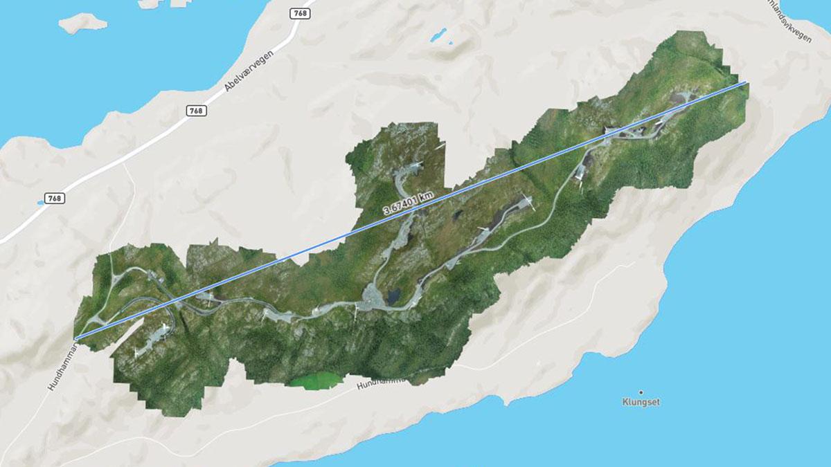 Orthomosaic overlaid onto google maps showing corridor of wind farm