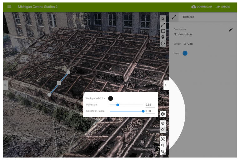 A screenshot showing how to adjust the point cloud density