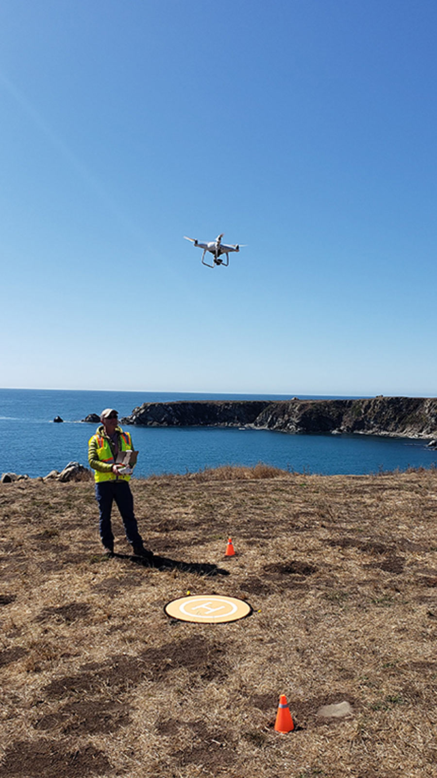 Flying-a-drone-over-the-ocean