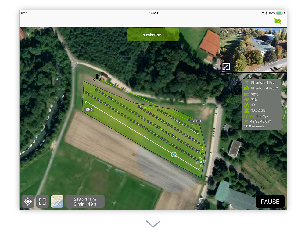 Start the autonomous drone mission and monitor the flight path live with the mapview or camera view