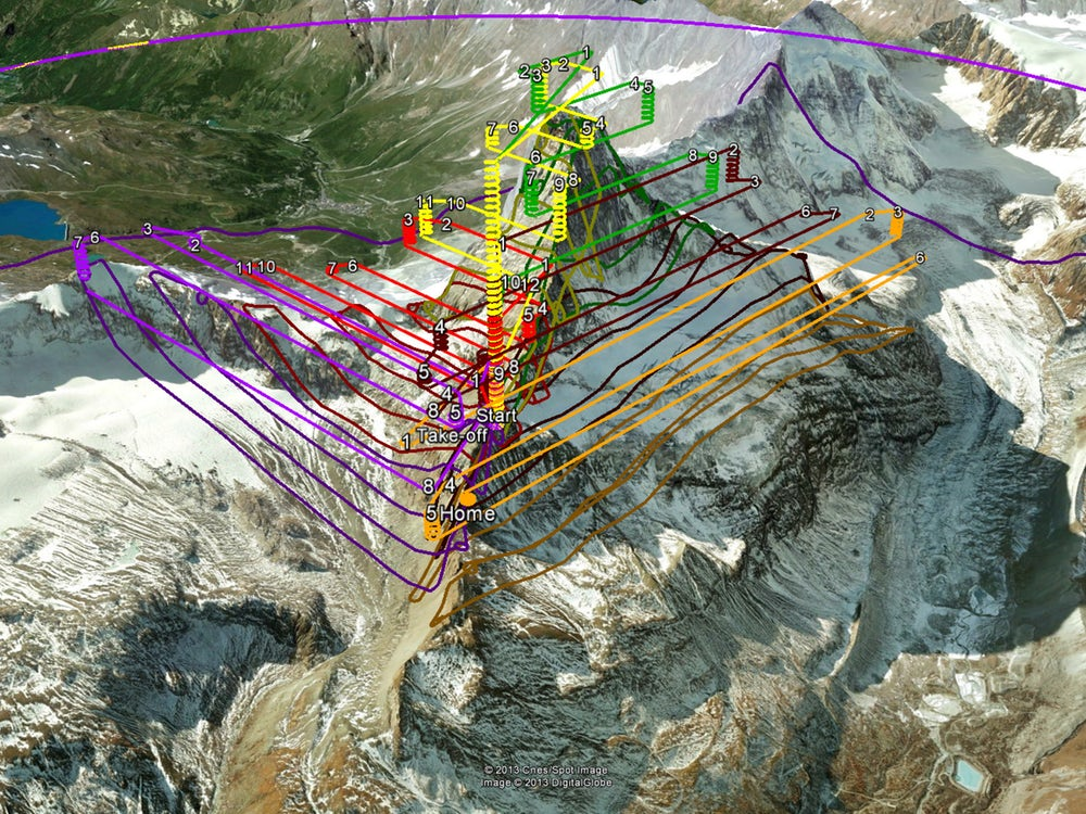 Flight plans for the drones that were launched from the middle of the mountain