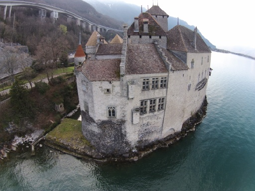 Chillon castle as captured with a drone from the air.