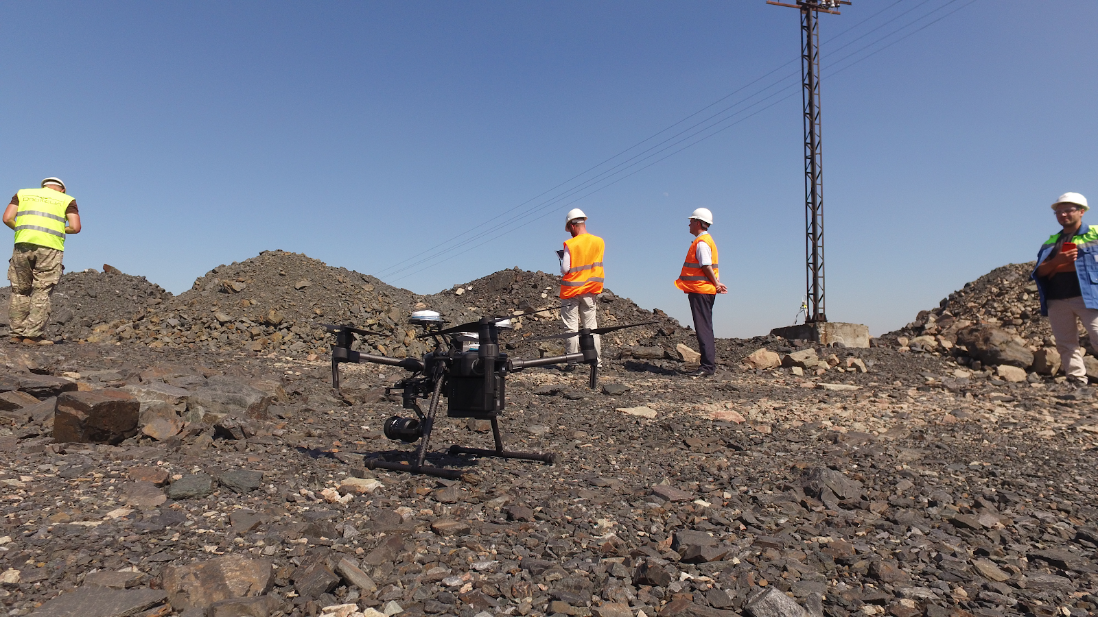 Launching a Matrice drone from a quarry