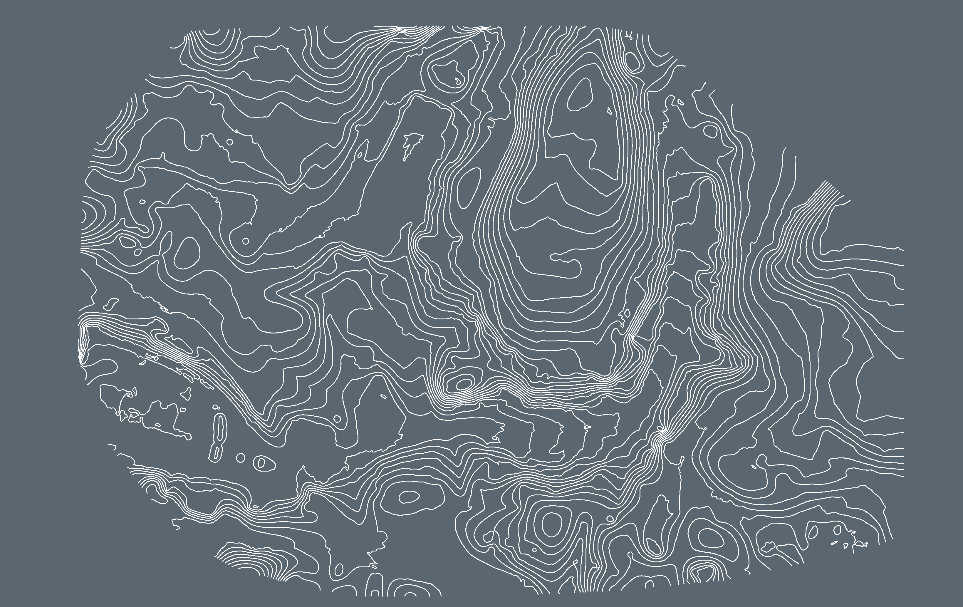 White contour lines on a grey background
