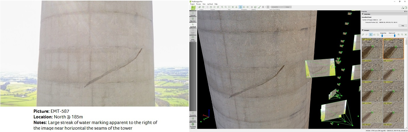 Two shots of a large streak on the side of UK's tallest tower