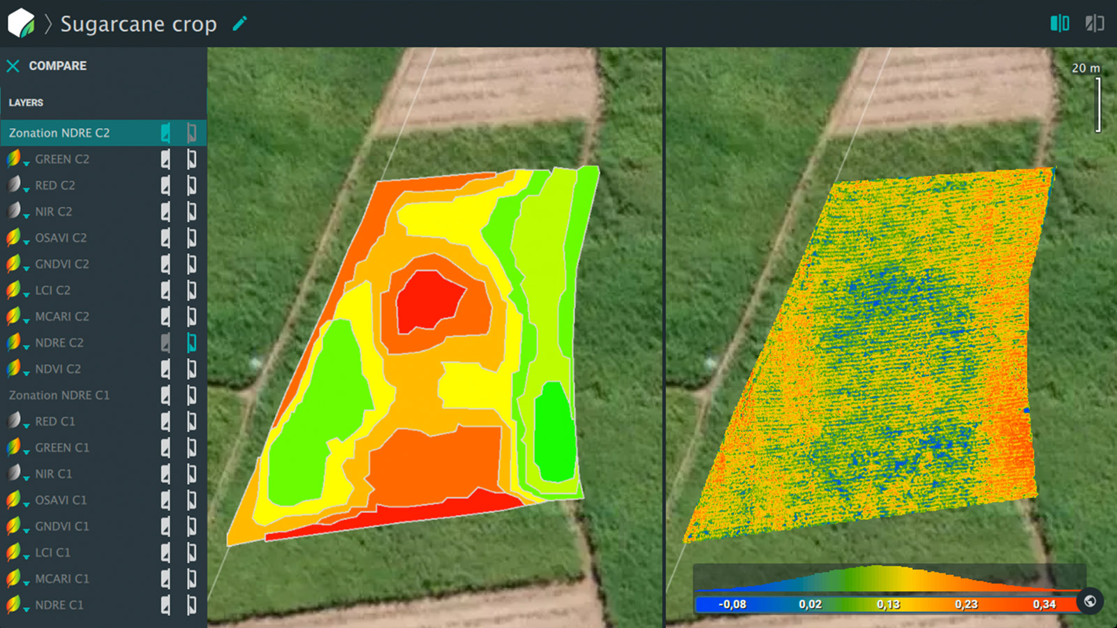 Pix4Dfields comparison showing NDVI and NDRE indices