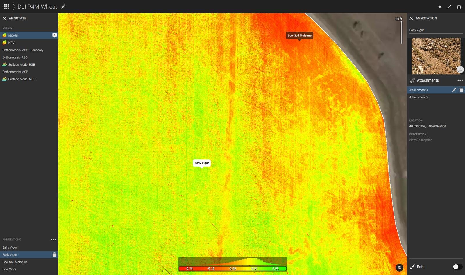John Deere Pix4Dfields Scouting points winter wheat