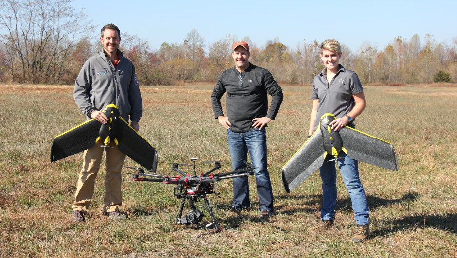 Surveyors flying drones