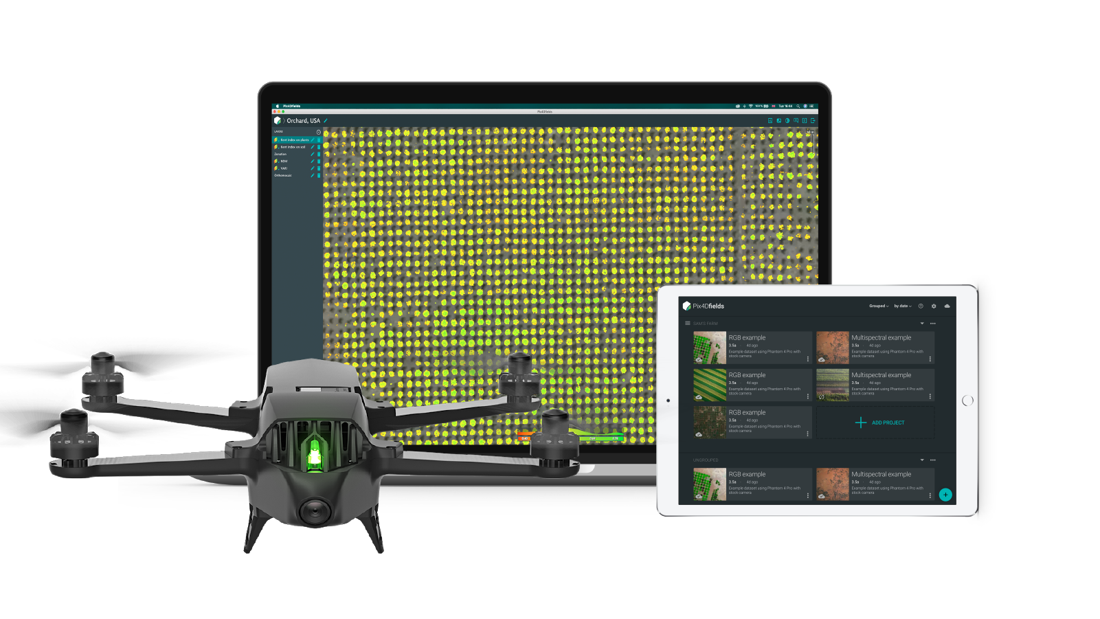 All in one agriculture mapping solution with Pix4dfields software and Parrot Bluegrass drone and Sequoia multispectral sensor