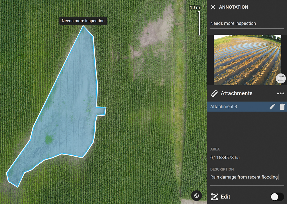 annotations showing flooding damage in agriculture mapping software