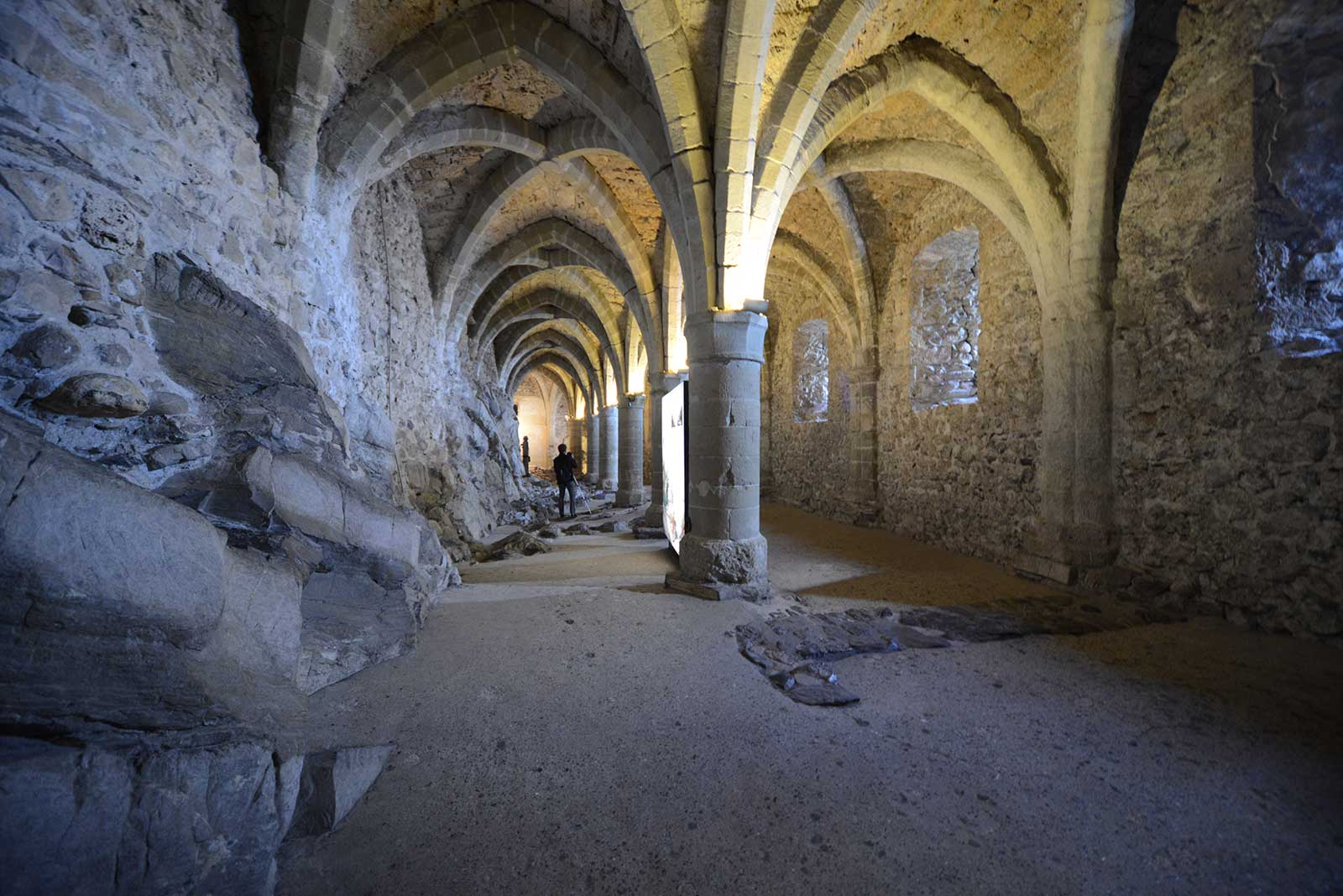 The cellar of Castle Chillon, which served as a dungeon for many years.