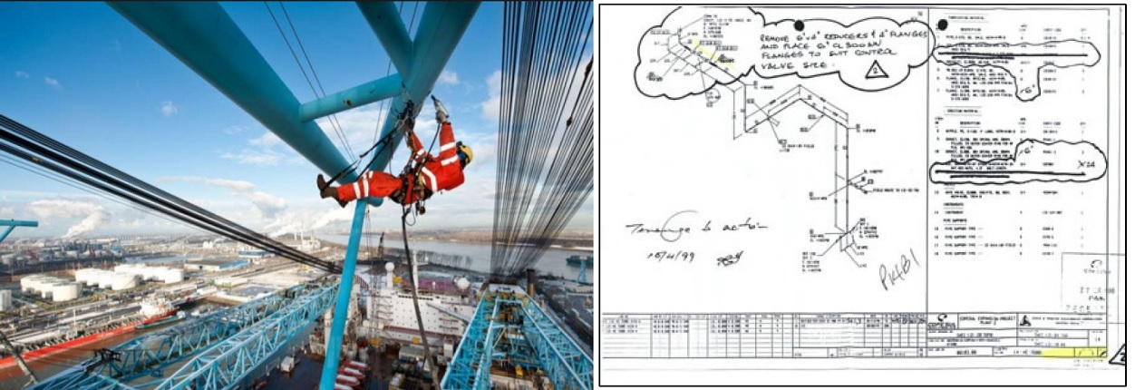 A worker suspended from a girder undertaking a direct inspection, and a diagram of the work needed.