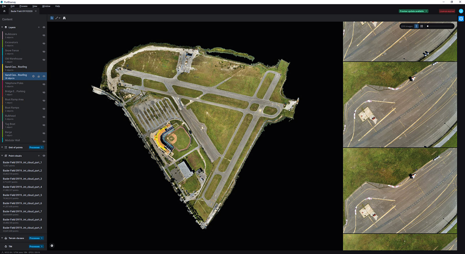 The airfield in Pix4Dsurvey's ijnterface