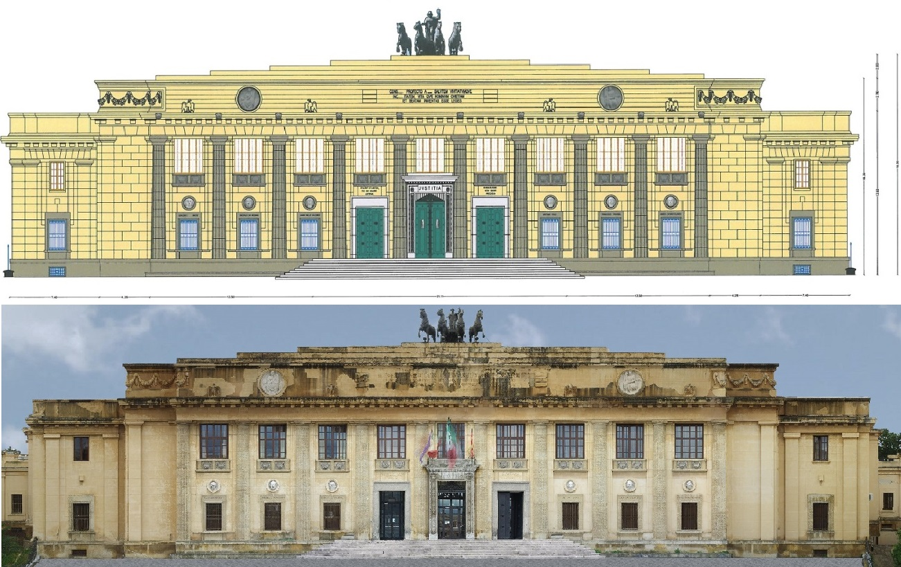Two images showing a diagram of the Messina Court facade and a surface orthomosaic of the same building.