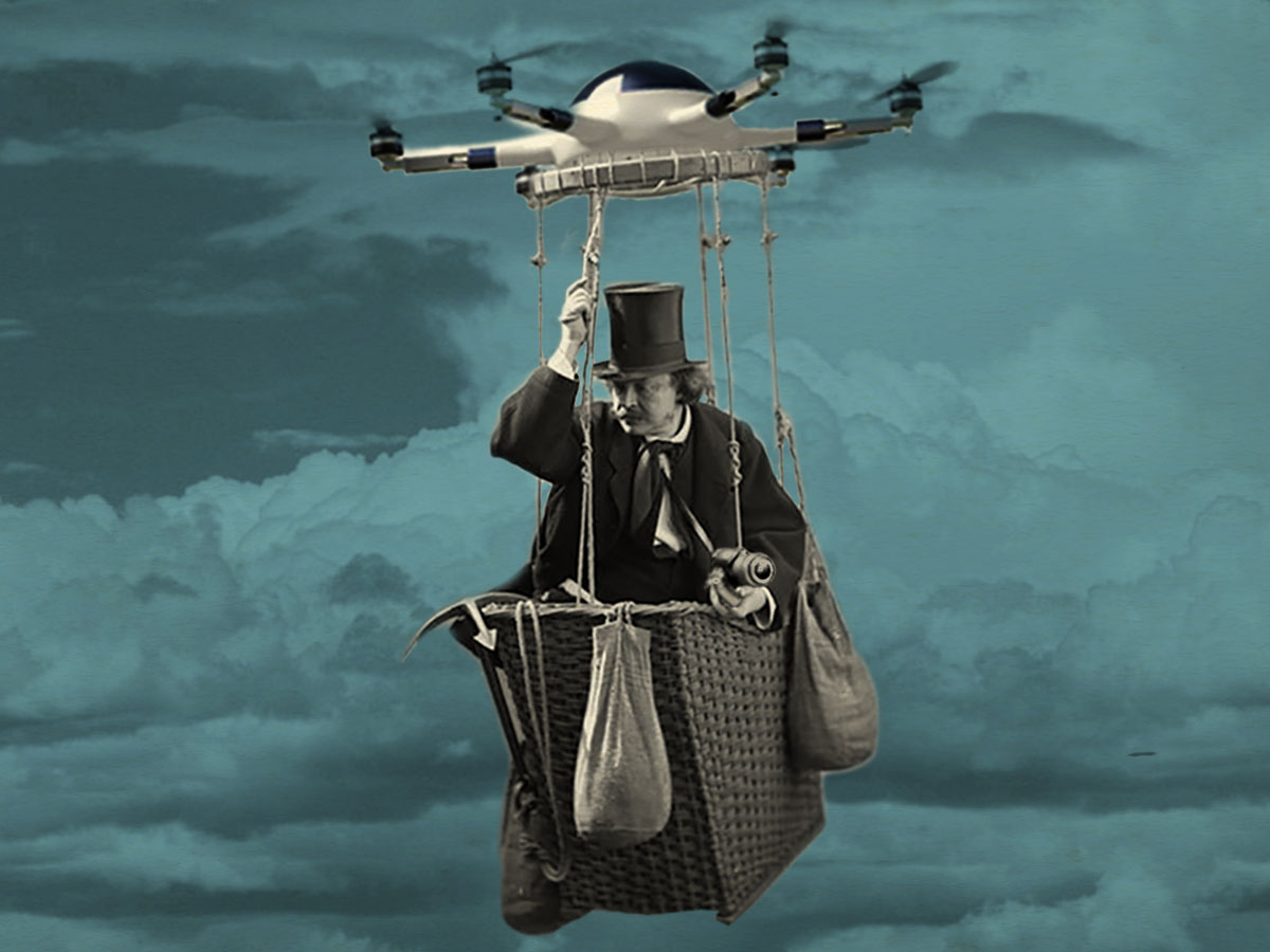 Photocollage of Nadar in a basket hung from a drone
