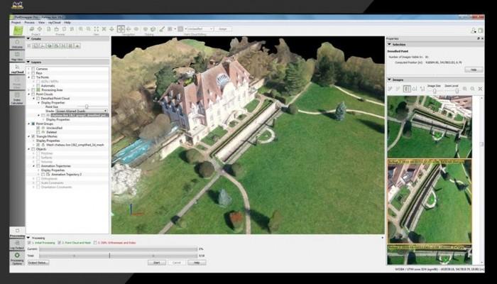rayCloud interface in Pix4Dmapper desktop showing the chateau