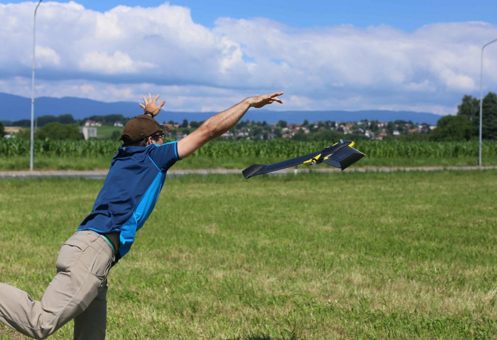 Fixed wing drone launching for aerial mapping